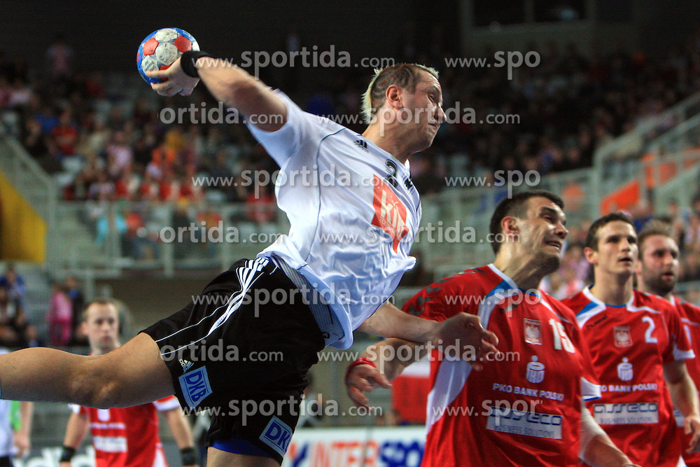 Pascal Hens (2) of Germany during 21st Men's World Handball Championship preliminary Group C match between National teams of Germany and Poland, on January 22, 2009, in Arena Varazdin, Varazdin, Croatia.  (Photo by Vid Ponikvar / Sportida)