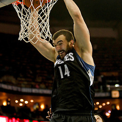 Dec 14, 2012; New Orleans, LA, USA; Minnesota Timberwolves center Nikola Pekovic (14) dunks against the New Orleans Hornets during  the second half of a game at the New Orleans Arena. The Timberwolves defeated Hornets 113-102. Mandatory Credit: Derick E. Hingle-USA TODAY Sports