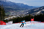 """Schladming, Austria - 2017 March 21: Kelly Toex from Luxembourg (219) competes in Alpine Skiing Competition while Special Olympics World Winter Games Austria 2017 on the """"Sepp-Walcher-Downhill"""" (Slope 32) near the """"Tauernalm"""" in Rohrmoos on March 21, 2017 in Schladming, Austria.<br /> <br /> Mandatory credit:<br /> Photo by © Adam Nurkiewicz / Mediasport<br /> <br /> Adam Nurkiewicz declares that he has no rights to the image of people at the photographs of his authorship.<br /> <br /> Picture also available in RAW (NEF) or TIFF format on special request.<br /> <br /> Any editorial, commercial or promotional use requires written permission from the author of image.<br /> <br /> Image can be used in the press when the method of use and the signature does not hurt people on the picture."""