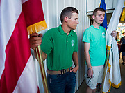 26 JUNE 2019 - CENTRAL CITY, IOWA: Members of the Linn County 4H wait to enter the arena during the Linn County Fair. Summer is county fair season in Iowa. Most of Iowa's 99 counties host their county fairs before the Iowa State Fair, August 8-18 this year. The Linn County Fair runs June 26 - 30. The first county fair in Linn County was in 1855. The fair provides opportunities for 4-H members, FFA members and the youth of Linn County to showcase their accomplishments and talents and provide activities, entertainment and learning opportunities to the diverse citizens of Linn County and guests.       <br /> PHOTO BY JACK KURTZ