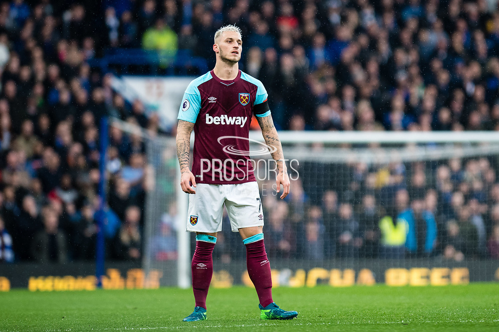 West Ham  (7) Marko Arnautović during the Premier League match between Chelsea and West Ham United at Stamford Bridge, London, England on 8 April 2018. Picture by Sebastian Frej.