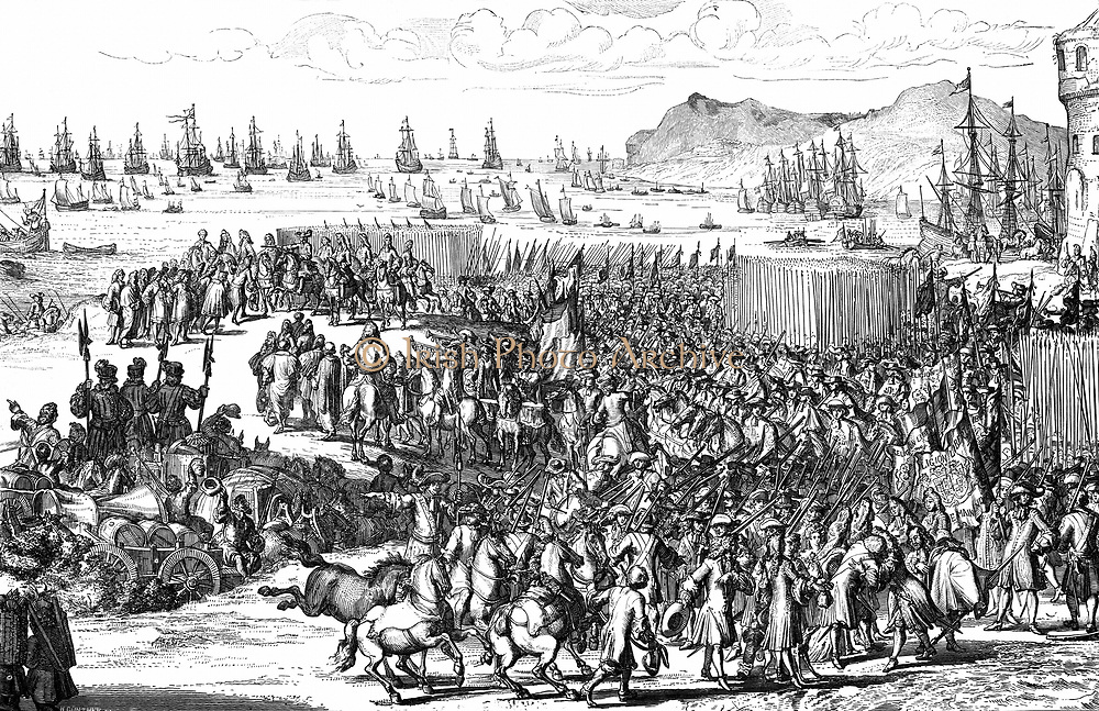 William III (William of Orange 1650-1702) co-ruler of Great Britain and Ireland with wife Mary II from 1689, and sole ruler after her death in 1694. William landing at Torbay, Devon, 5 November 1688 with troops at beginning of the Glorious Revolution. Engraving.