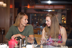 LIVERPOOL, ENGLAND - Thursday, June 15, 2017: Polona Hercog (SLO) and guest at Sapporo Teppanyaki  on Day One of the Liverpool Hope University International Tennis Tournament 2017 at the Liverpool Cricket Club. (Pic by David Rawcliffe/Propaganda)