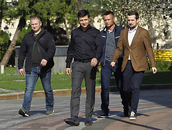 May 4, 2019 - Kiev, Kiev, Ukraine - Volodymyr Zelensky (C) is seen walking, after his meeting..Ukrainian newly elected president Volodymyr Zelensky meets with lawmakers of Ukrainian Parliament and decides on May 19 as his inauguration date, according to UNIAN inform agency report. (Credit Image: © Pavlo Gonchar/SOPA Images via ZUMA Wire)