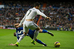 14.02.2015, Estadio Santiago Bernabeu, Madrid, ESP, Primera Division, Real Madrid vs Deportivo La Coruna, 23. Runde, im Bild Real Madrid&acute;s Cristiano Ronaldo and Deportivo de la Coruna's Laureano Sanabria Ruiz // during the Spanish Primera Division 23rd round match between Real Madrid vs Deportivo La Coruna at the Estadio Santiago Bernabeu in Madrid, Spain on 2015/02/14. EXPA Pictures &copy; 2015, PhotoCredit: EXPA/ Alterphotos/ Luis Fernandez<br /> <br /> *****ATTENTION - OUT of ESP, SUI*****