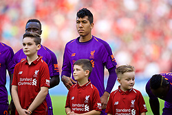DUBLIN, REPUBLIC OF IRELAND - Saturday, August 4, 2018: Liverpool's Roberto Firmino lines-up before the preseason friendly match between SSC Napoli and Liverpool FC at Landsdowne Road. (Pic by David Rawcliffe/Propaganda)