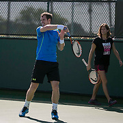 March 10, 2015, Indian Wells, California:<br /> Andy Murray hits a forehand as coach Amelie Mauresmo watches during a practice session at the Indian Wells Tennis Garden in Indian Wells, California Tuesday, March 10, 2015.<br /> (Photo by Billie Weiss/BNP Paribas Open)