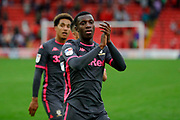 Leeds United forward Edward Nketiah (14), on loan from Arsenal, acknowledges the fans after the victory in the EFL Sky Bet Championship match between Barnsley and Leeds United at Oakwell, Barnsley, England on 15 September 2019.
