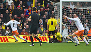 Picture by David Horn/Focus Images Ltd +44 7545 970036.09/03/2013 .Tom Ince (left) of Blackpool scores Blackpool's equalising goal during the npower Championship match at Vicarage Road, Watford.