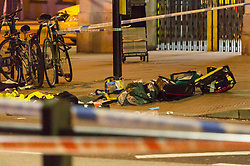 First aid equipment lies on the ground at the scene where a seventeen-year-old , the second teenager in less than 24 hours, was stabbed and died outside Clapham South Underground Station. Clapham South, London, November 02 2018.