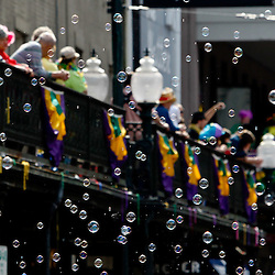 February 21, 2012; New Orleans, LA, USA; Bubbles fly through the air released from a float during the Rex parade as it rolled along the St. Charles Avenue parade route throwing beads, and various trinkets on Mardi Gras day in New Orleans, Louisiana. Mardi Gras is an annual celebration that ends at midnight with the start of the Catholic Lenten season which begins with Ash Wednesday and ends with Easter. Photo by: Derick E. Hingle