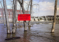 Vernon Station warning sign at spring freshet on Connecticut River, Vernon, VT