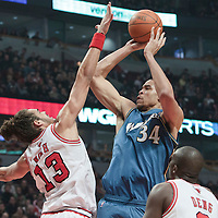 13 November 2010: Washington Wizards' center #34 JaVale McGee takes a jumpshot over Chicago Bulls' center #13 Joakim Noah during the Chicago Bulls 103-96 victory over the Washington Wizards at the United Center, in Chicago, Illinois, USA.