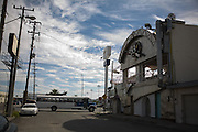 """.A Bus passes the old """"Steel 33 Cafe"""" in Juarez Mexico on Saturday, Oct. 10, 2009.."""