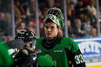 KELOWNA, BC - JANUARY 19:  Ian Scott #33 of the Prince Albert Raiders stands at the bench during time out against the Kelowna Rockets at Prospera Place on January 19, 2019 in Kelowna, Canada. (Photo by Marissa Baecker/Getty Images)***Local Caption***