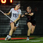 23 March 2018: San Diego State Aztecs defender Shannon Gallagher guards a Liberty attacker behind the net in the first half. The Aztecs beat the Lady Flames 11-10 Friday night. <br /> More game action at sdsuaztecphotos.com