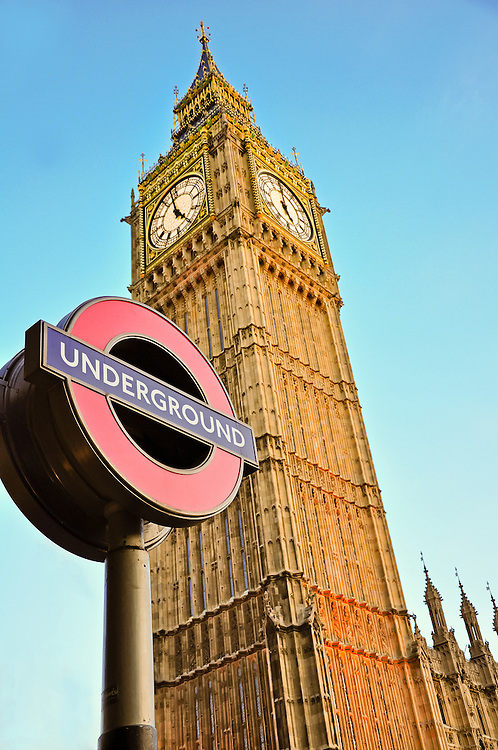 Big Ben at Westmister with London Underground Sign