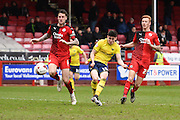 Oxford midfielder Callum O'Dowda scores from the edge of the area to make it 1-2 to Oxford during the Sky Bet League 2 match between Crawley Town and Oxford United at the Checkatrade.com Stadium, Crawley, England on 9 April 2016. Photo by David Charbit.