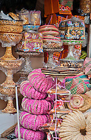 Balinese ceremonial items for sale at Sukawati Market in Bali, Indonesia