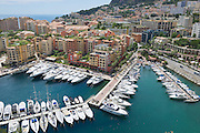 MONACO, MONACO - JUNE 17, 2015: View to Fontvieille and Monaco Harbor in Monaco.