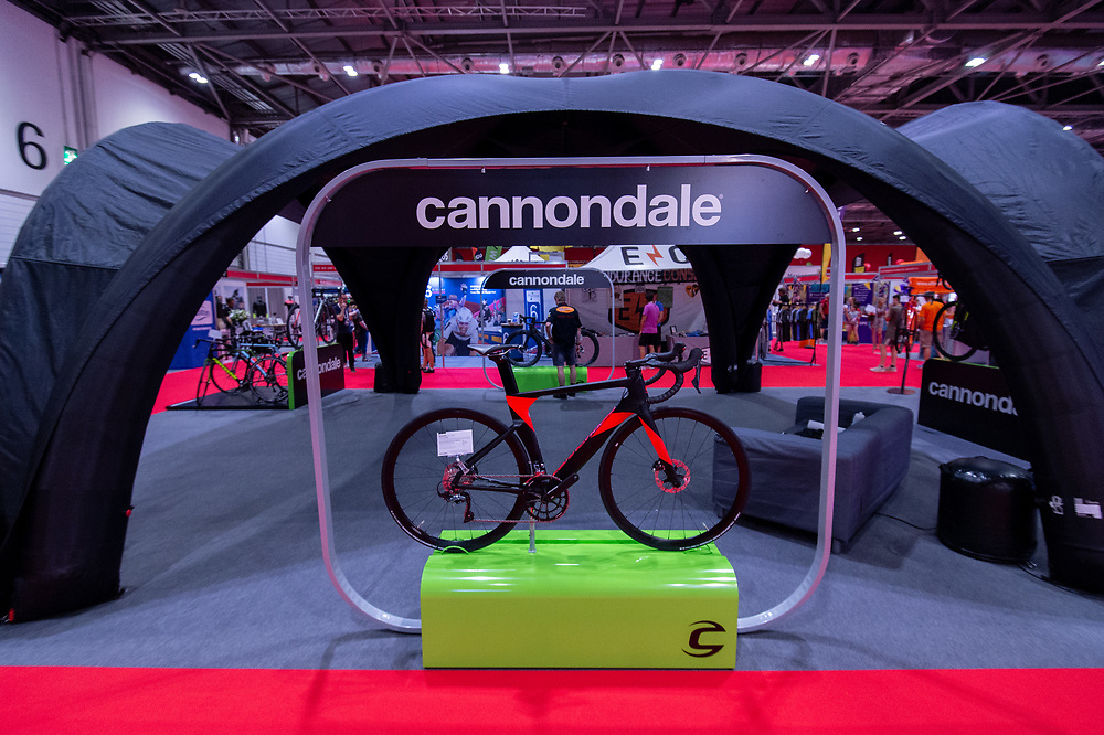The Cannondale stand .The Cycling Show at Excel London. 26th July 2018<br /> <br /> Photo: Anthony Upton for Prudential RideLondon<br /> <br /> Prudential RideLondon is the world's greatest festival of cycling, involving 100,000+ cyclists - from Olympic champions to a free family fun ride - riding in events over closed roads in London and Surrey over the weekend of 28th and 29th July 2018<br /> <br /> See www.PrudentialRideLondon.co.uk for more.<br /> <br /> For further information: media@londonmarathonevents.co.uk