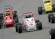 05 MAY 2007: Brian Tyler (4) of Contos Racing drives in traffic around turn one during the sprint car race at the Casey's General Stores USAC Triple Crown at the Iowa Speedway in Newton, Iowa on May 5, 2007.