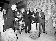 24/08/1984<br /> 08/24/1984<br /> 24 August 1984<br /> Opening of ROSC '84 at the Guinness Store House, Dublin. Pat Murphy (left), ROSC Chairman in expansive mood as he guides President Hillery; Lord Iveagh; Maeve Hillery; Mrs Jo Nealon; Minister of State for Arts and Culture Ted Nealon and Brian Slowey,  Managing Director, Guinness,Ireland around the exhibition.