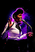 Janelle Monae performs live on stage at Shepherds Bush Empire on December 5, 2010 in London, England.  (Photo by Simone Joyner)