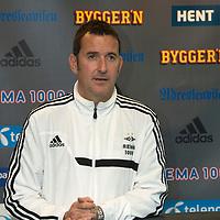 Rosenborg v St Johnstone....17.07.13  UEFA Europa League Qualifier.<br /> Per Joar Hansen, Rosenborg Coach talks at the press conference<br /> Picture by Graeme Hart.<br /> Copyright Perthshire Picture Agency<br /> Tel: 01738 623350  Mobile: 07990 594431