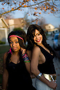 """ELK GROVE, CALIFORNIA - DECEMBER 17: Ola Ray, who co-starred with Michael Jackson in his """"Thriller"""" music video, poses for a portrait with her 14-year-old daughter Iam Ray, left, December 17, 2009 in Elk Grove, California.  (Photo by Max Whittaker/Getty Images for Stern)"""
