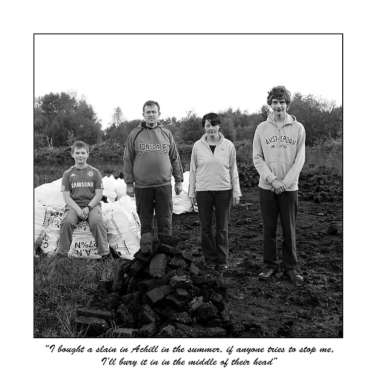 """Lynch Family. Leona & Mark with children Ruairí and Cormac. """" People are livid, we don't like being bullied. I bought a sláin in Achill in the Summer. If anyone tries to stop me, I'll bury the sláin in the middle of their head."""""""