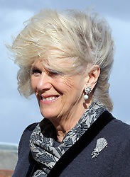 A wind swept Duchess of Cornwall as she walks up the gang plank of  HMS Illustrious in Portsmouth, United Kingdom, Wednesday, 26th February 2014. Picture by Stephen Lock / i-Images