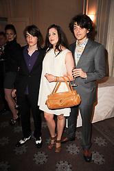 Left to right, SASCHA BAILEY, PALOMA BAILEY and FENTON BAILEY at a dinner hosted by Vogue in honour of photographer David Bailey at Claridge's, Brook Street, London on 11th May 2010.