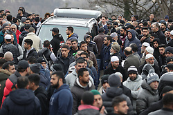 © Licensed to London News Pictures. 06/01/2017. Huddersfield, UK. The funeral of Yassar Yaqub at a mosque in Huddersfield, West Yorkshire. Yaqub, 28, from Huddersfield, was shot dead in a car stopped near junction 24 of the M62 as part of a planned police operation. Photo credit: Joel Goodman/LNP