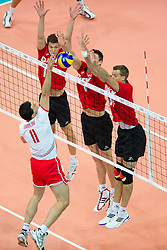 12.09.2011, O2 Arena, Prag, CZE, Europameisterschaft Volleyball Maenner, Vorrunde D, Deutschland (GER) vs Bulgarien (BUL), im Bild Vladimir Nikolov (#11 BUL) - Lukas Kampa (#11 GER / Bottrop GER), Marcus Böhme/Boehme (#8 GER / Friedrichshafen GER), Robert Kromm (#14 GER / Verona ITA) // during the 2011 CEV European Championship, Germany vs Bulgaria at O2 Arena, Prague, 2011-09-12. EXPA Pictures © 2011, PhotoCredit: EXPA/ nph/  Kurth       ****** out of GER / CRO  / BEL ******