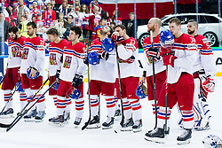Jakub Krejcik #30 of Czech Republic and other players look dejected after the Ice Hockey match between USA and Czech Republic at Third place game of 2015 IIHF World Championship, on May 17, 2015 in O2 Arena, Prague, Czech Republic. Photo by Vid Ponikvar / Sportida