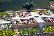 The geometric design of the Maharaja's Garden The Amber Fort in Jaipur, Rajasthan, Northern India