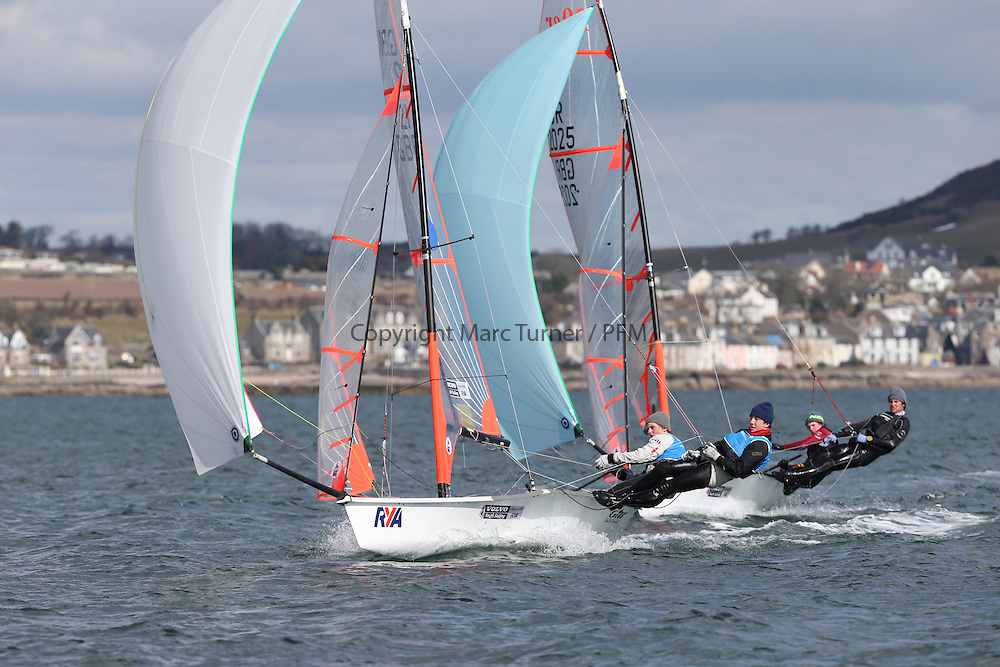 Image Credit Marc Turner.29er, 21, Owen BOWERMAN, Morgan PEACH, Hisc.Day 4, RYA Youth National Championships 2013 held at Largs Sailing Club, Scotland from the 31st March - 5th April. .