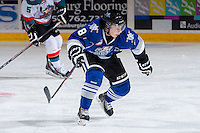 KELOWNA, CANADA -FEBRUARY 8: Mitch Skapski #8 of the Victoria Royals skates against the Kelowna Rockets on February 8, 2014 at Prospera Place in Kelowna, British Columbia, Canada.   (Photo by Marissa Baecker/Getty Images)  *** Local Caption *** Mitch Skapski;