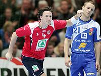 Håndball ,  06. september 2008 , VM-kvalifisering<br /> Norge - Island<br /> Norway - Island 31-31<br /> Thomas Drange , Norge jubler foran Ragnar Oskarsson , Island<br /> <br /> Handball , Norway - Island