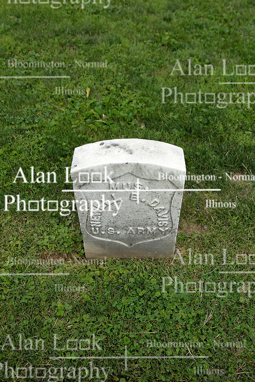 26 August 2017:   A part of the History of McLean County Illinois.<br /> <br /> Tombstones in Evergreen Memorial Cemetery.  Civic leaders, soldiers, and other prominent people are featured.<br /> <br /> Section 5, the old town soldiers area<br /> MUS Newell B. Davis<br /> US Army