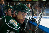 KELOWNA, CANADA - JANUARY 9:  Bryce Kindopp #19 of the Everett Silvertips sits on the bench after receiving medical attention for a cut on his face against the Kelowna Rockets on January 9, 2019 at Prospera Place in Kelowna, British Columbia, Canada.  (Photo by Marissa Baecker/Shoot the Breeze)