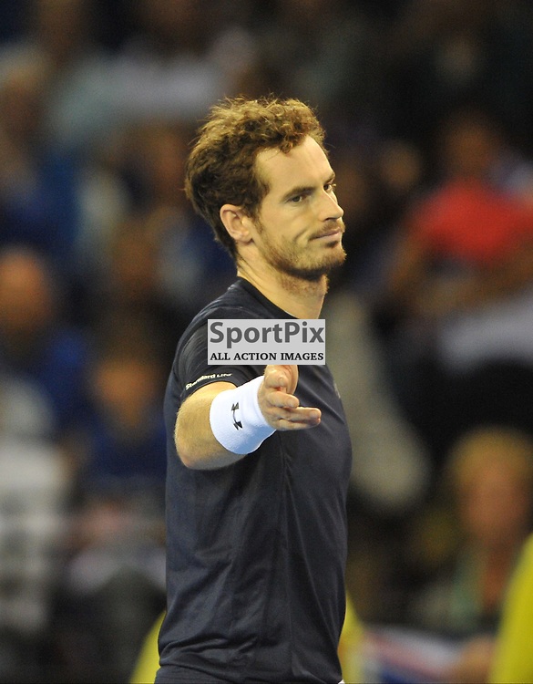 Andy Murray disputes a call during the doubles rubber between Great Britain v Australia, Semi Finals,  Aegeon Davis Cup by BNP Paribas, Saturday 19 September 2015 (c) Angie Isac | SportPix.org.uk