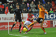 Rotherham United midfielder Grant Ward and Wolverhampton Wanderers midfielder Jordan Graham during the Sky Bet Championship match between Rotherham United and Wolverhampton Wanderers at the New York Stadium, Rotherham, England on 5 December 2015. Photo by Ian Lyall.