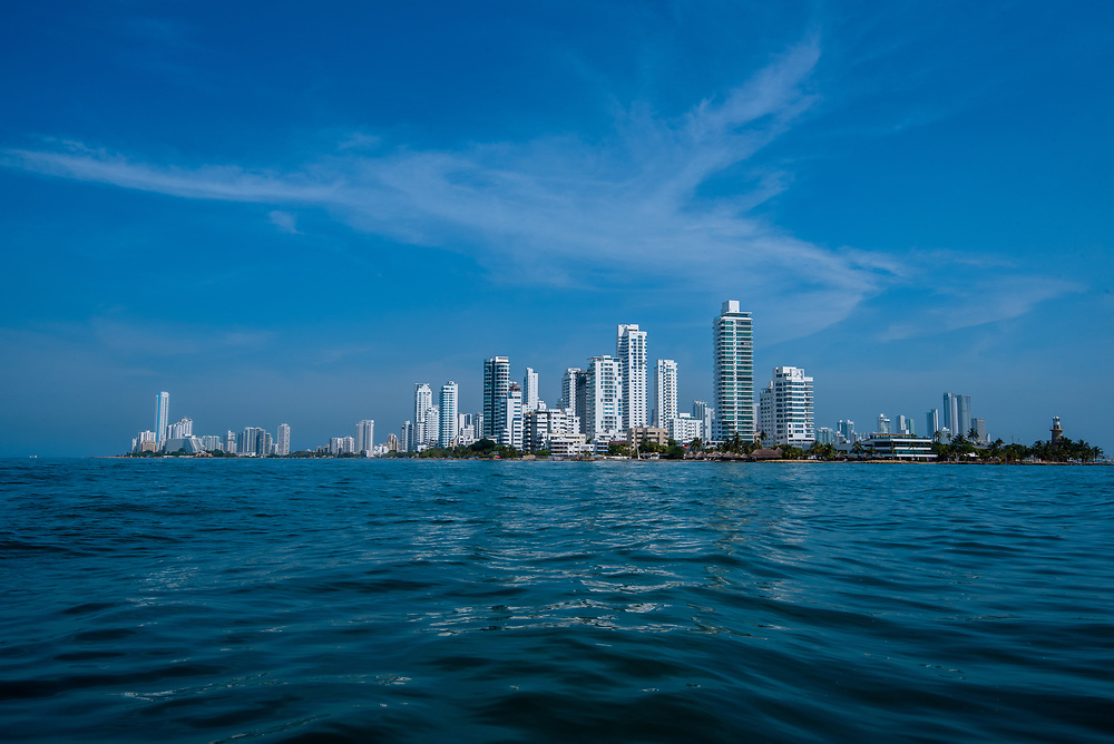 Wide angle shot of Cartagena taken from a boat on the Caribbean.
