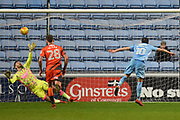 Coventry City striker Marc McNulty (10) takes a penalty and scores 3-2 during the EFL Sky Bet League 2 match between Coventry City and Wycombe Wanderers at the Ricoh Arena, Coventry, England on 22 December 2017. Photo by Alan Franklin.