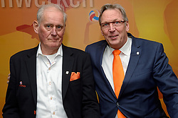 12-12-2015 NED: Bondsvergadering Nevobo, Nieuwegein<br /> Hans Nieukerke is vandaag benoemd tot erevoorzitter van de Nevobo. De 73-jarige Nieukerke ontving in het Huis van de Sport deze eer bij het afscheid van zijn twaalfjarig voorziterschap en kreeg de unieke gouden bondsspeld met drie briljanten opgespeld / Hans en Jaap Boom