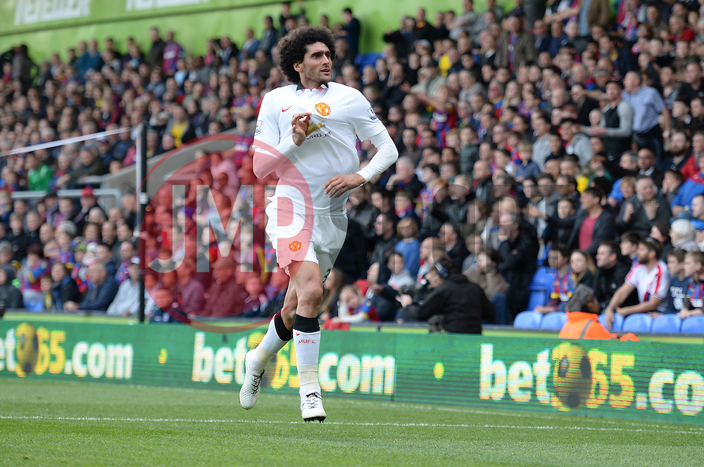 Manchester United's Marouane Fellaini celebrates. - Photo mandatory by-line: Alex James/JMP - Mobile: 07966 386802 - 09/05/2015 - SPORT - Football - London - Selhurst Park - Crystal Palace v Manchester United - Barclays Premier League
