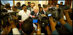 London Mayor Boris Johnson is mobbed by the Indian Media after a meeting with officials in Hyderabad , on the forth day of a six-day tour of India, where he will be trying to persuade Indian businesses to invest in London, Wednesday November 28, 2012. Photo by Andrew Parsons / i-Images