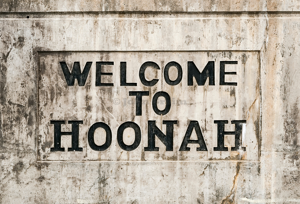 Welcome to Hoonah sign, Hoonah, Alaska, USA.